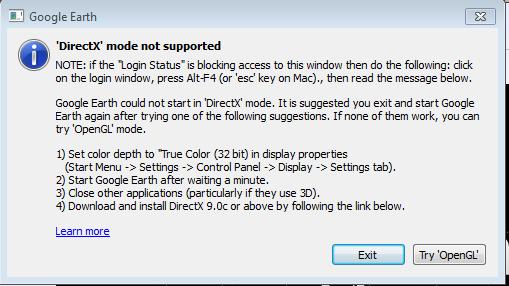 Start google earth in directx mode